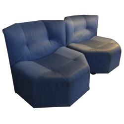 "Pair of blue ""Octa"" low chairs, Bernard GOVIN - 1980s"