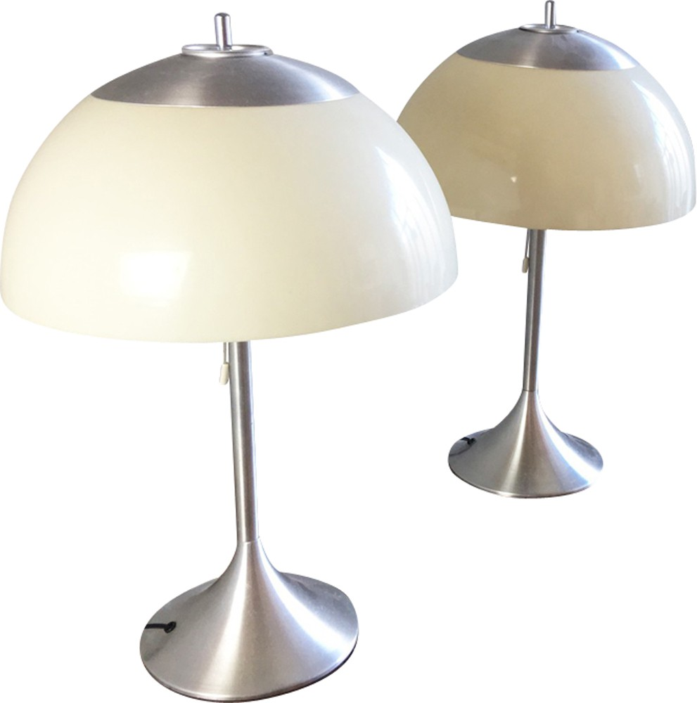 Pair Of Modern Brushed Chrome Table Lamps 1960s Design Market