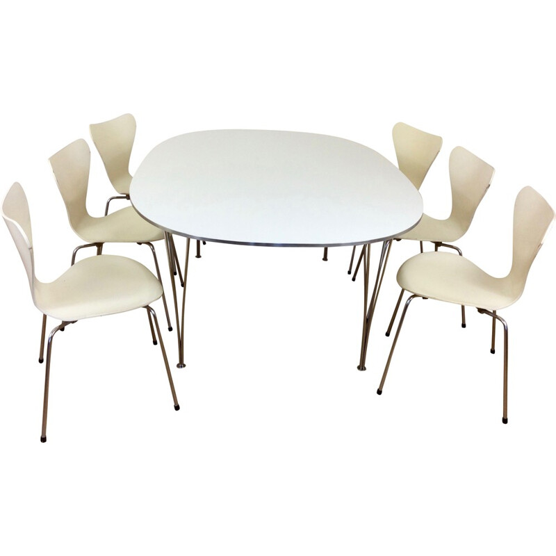 Set of dining table by Hein and Mathsson with six chairs by Arne Jacobsen for Fritz Hansen - 1970s