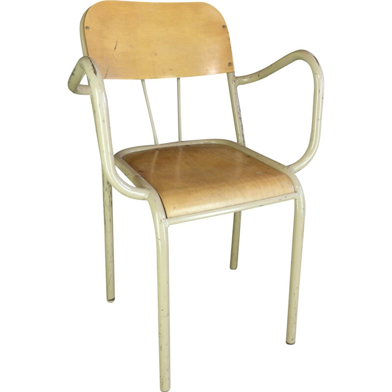Mid-century school chair with armrests - 1960s