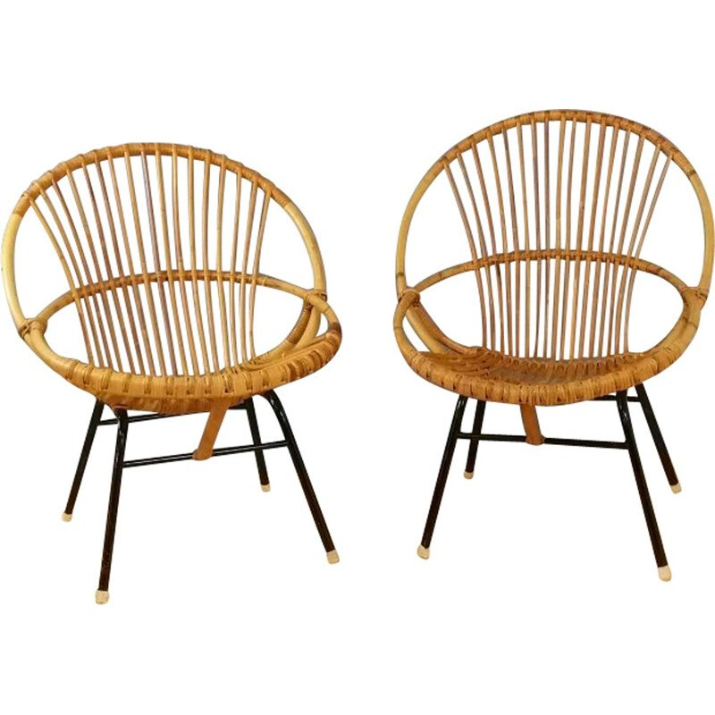 Set of 2 rattan chairs produced by Rohe Noordwolde - 1960s