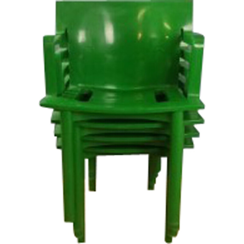 Set of 4 green chairs by Anna Castelli Ferrieri for Kartell - 1980s