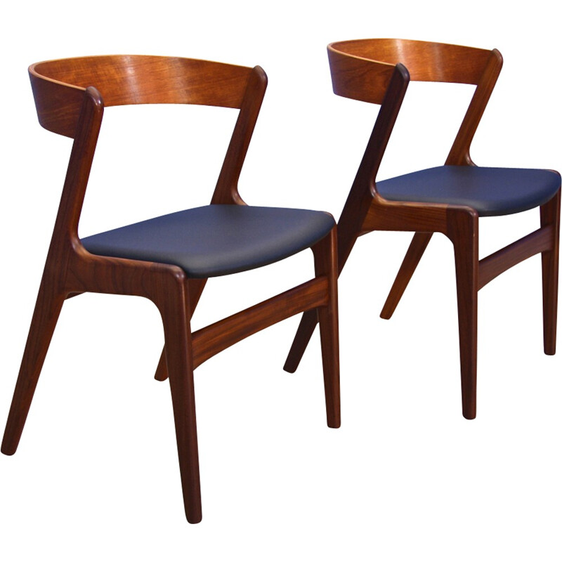 Set of 2 chairs in wood and leatherette produced  by Farstrup - 1960s