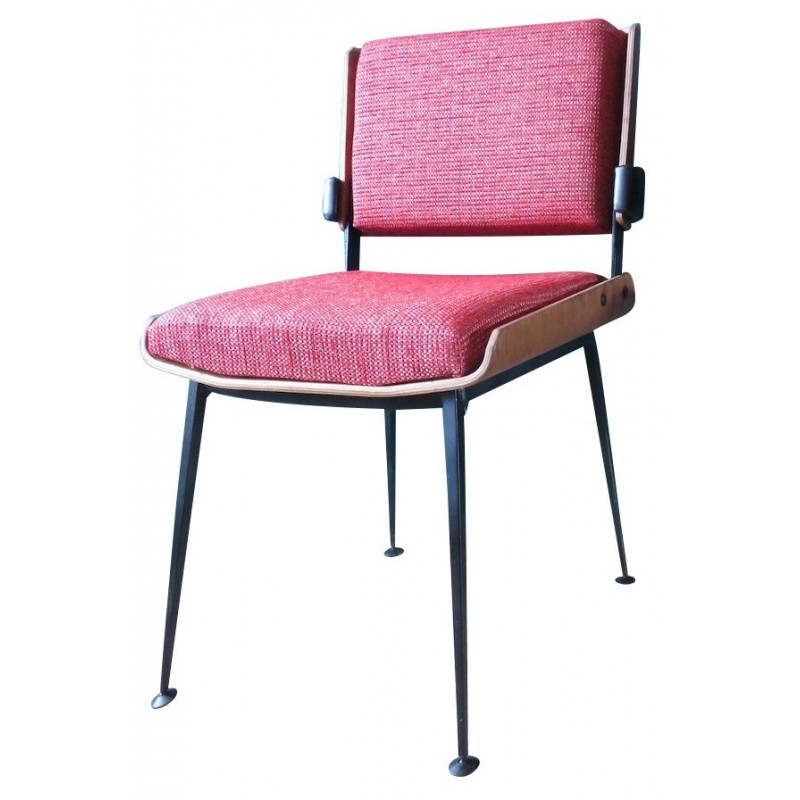 Pleasant Pair Of Chairs With Red Fabric Alain Richard 1960S Pabps2019 Chair Design Images Pabps2019Com
