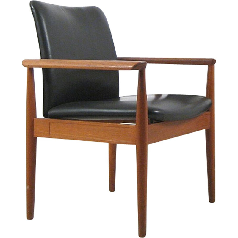 Finn Juhl Model 209 Diplomat Chair in Teak and Black Leather by Cado - 1960s