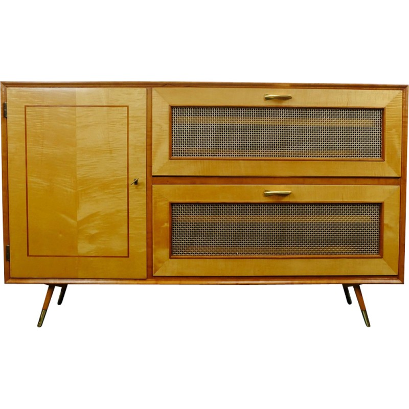 Mid Century Shoe Cabinet In Cherry And Maplewood   1950s