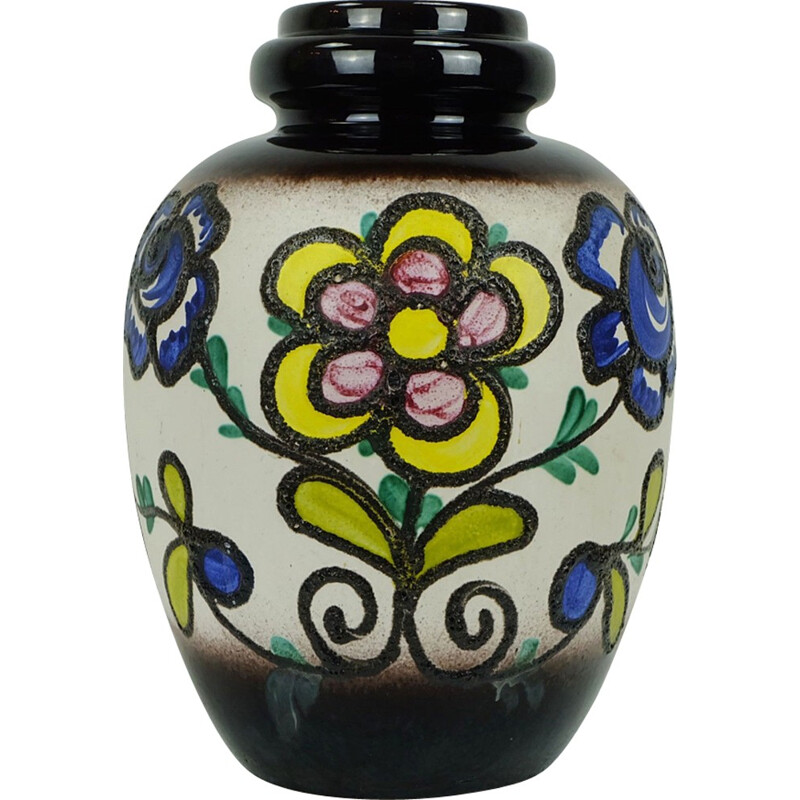 Flowered ceramic vase with flowers produced by Scheurich - 1960s