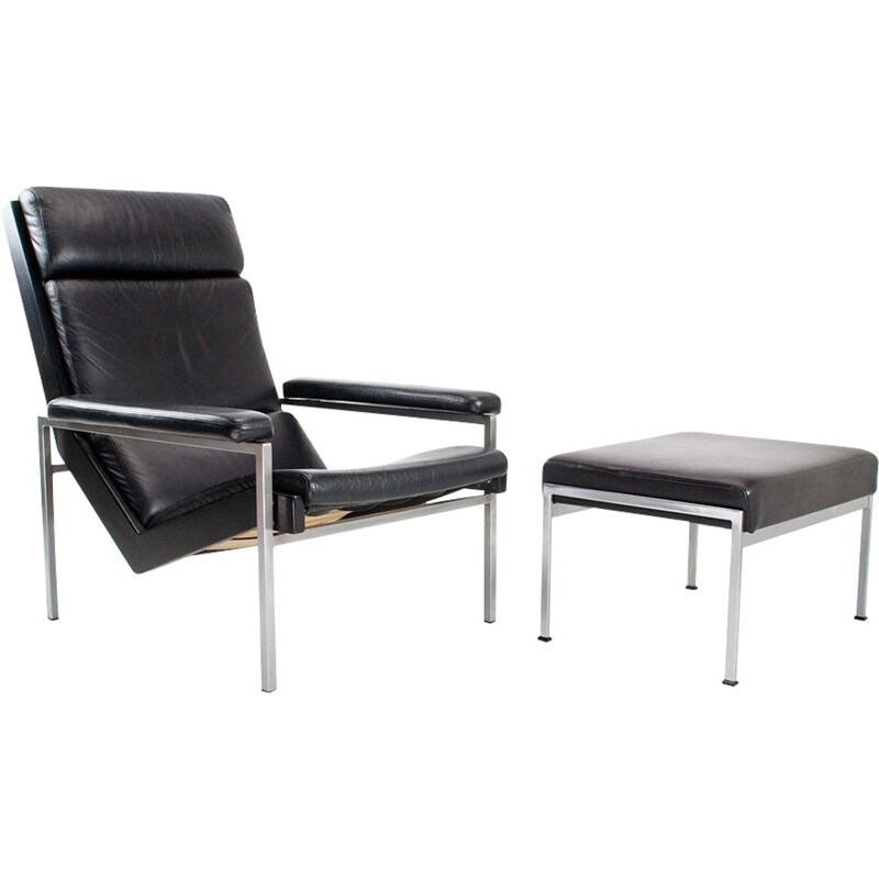 """""""Lotus"""" leather chair with ottoman by Rob Parry for Gelderland - 1960s"""
