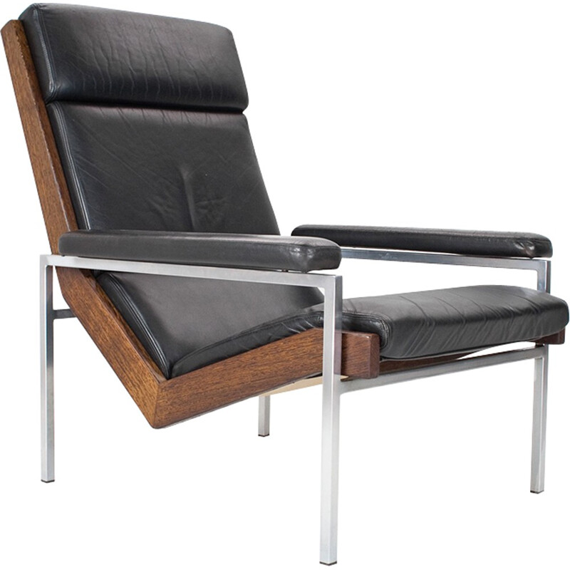 Lounge chair in wenge and leather by Rob Parry for Gelderland - 1960s