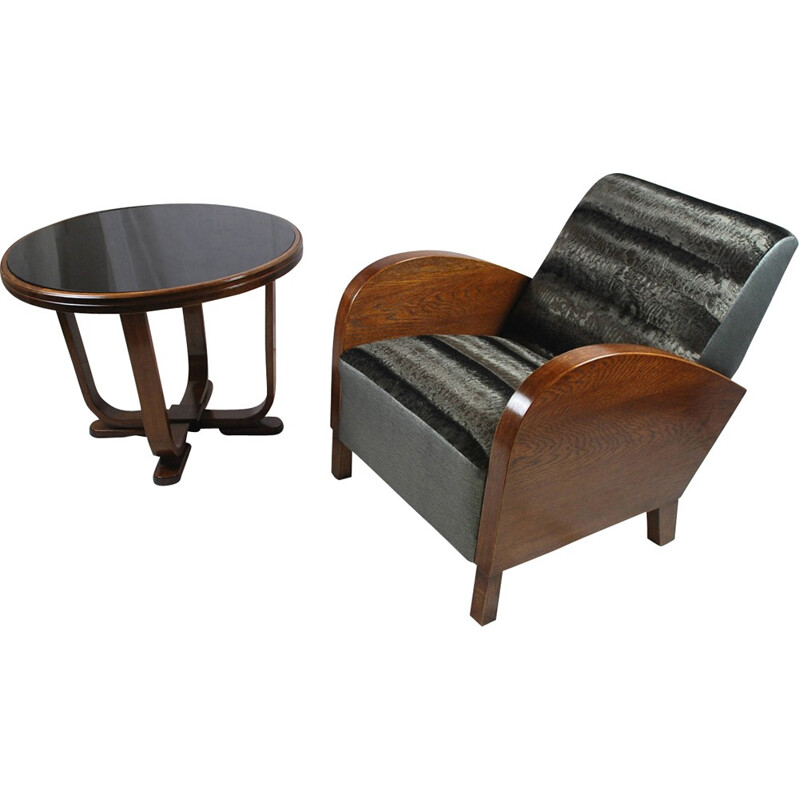 Mid century black armchair and its coffee table - 1950s