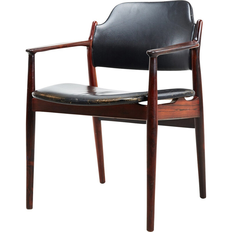 """""""62A"""" armchair in rosewood and leather by Arne Vodder for Sibast - 1960s"""