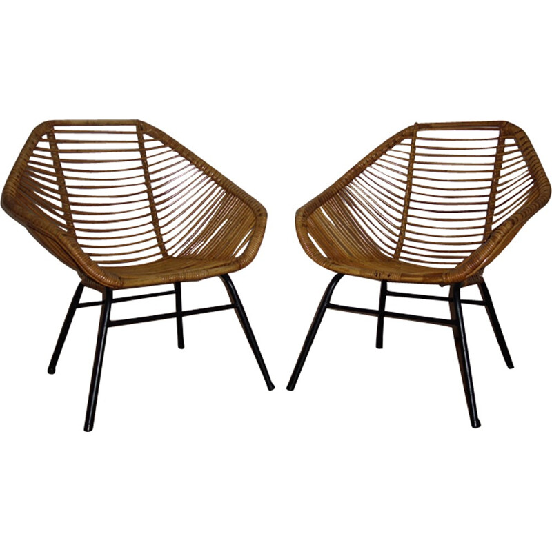Pair of rattan armchairs by Rohe Noordwolde - 1950s