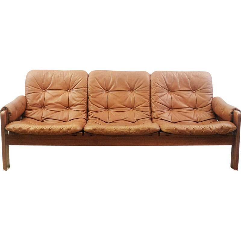 3 seaters brown leather sofa by Ekstrom - 1960s