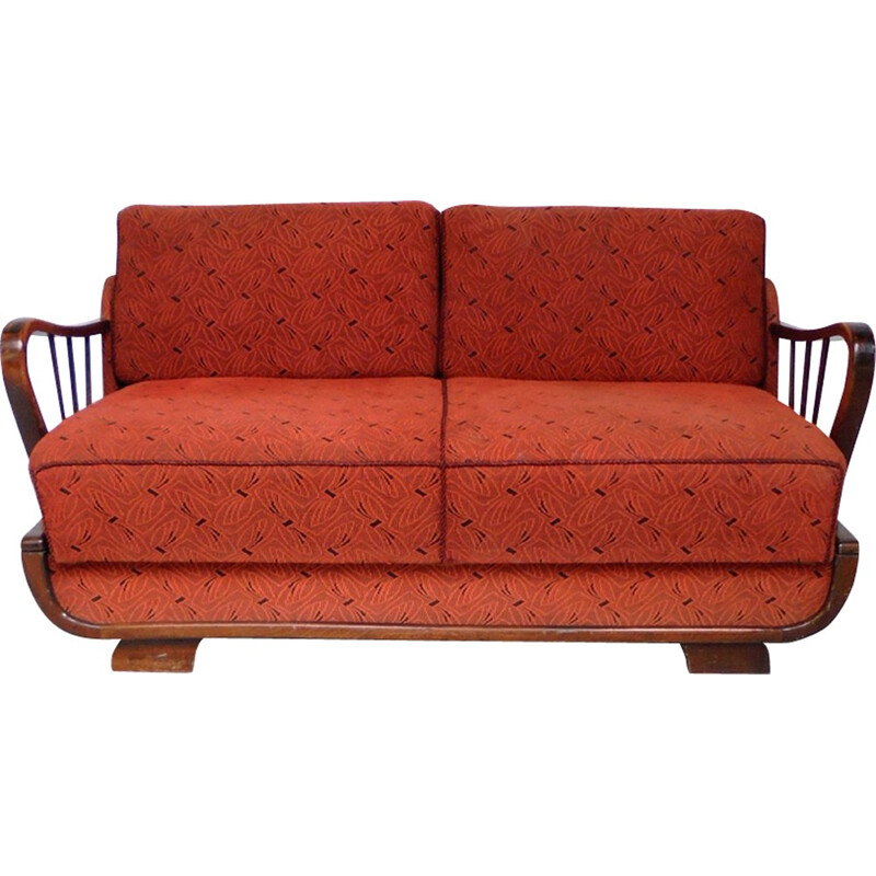 Red convertible 2 seater sofa - 1950s