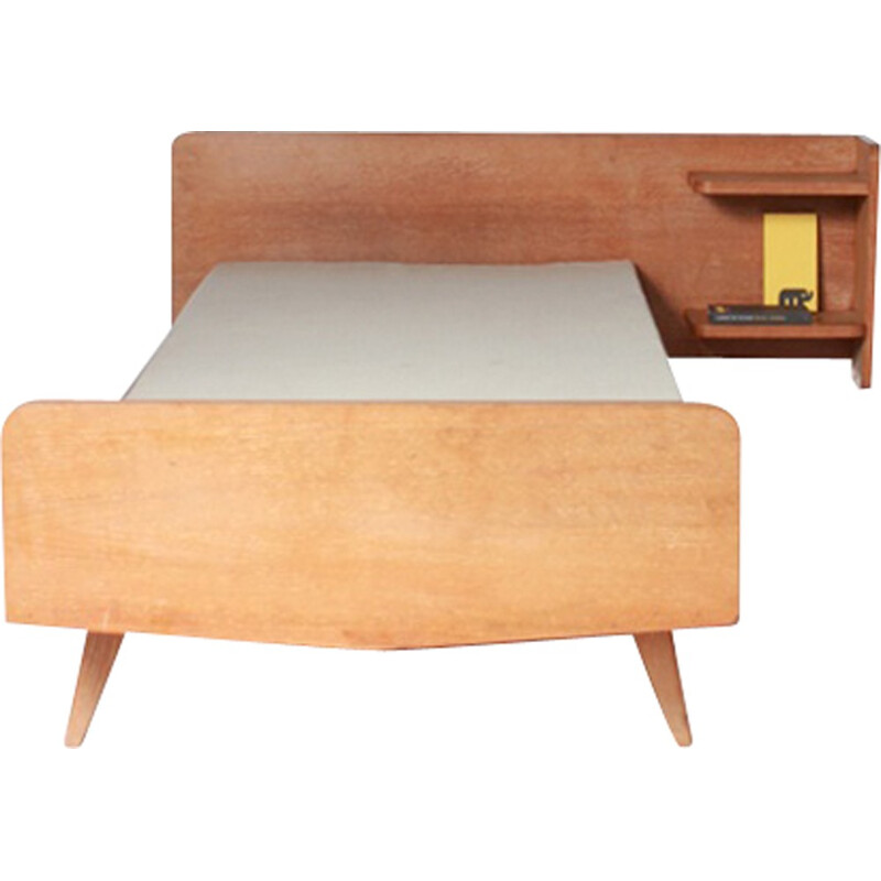 1 single bed with tapered feet and integrated side table - 1950s