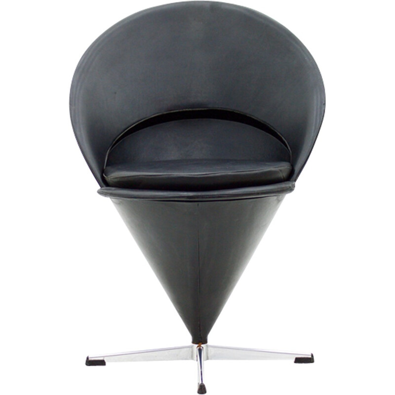Black 'Cone' chair in leather by Verner Panton - 1950s
