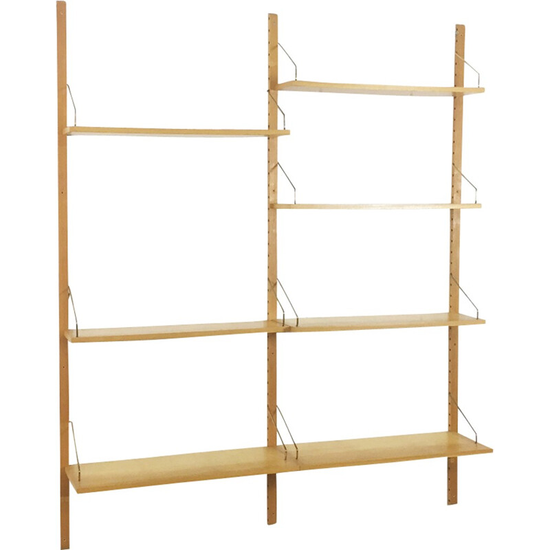 Wall shelving system in elmwood by Poul Cadovius for Cado - 1960s