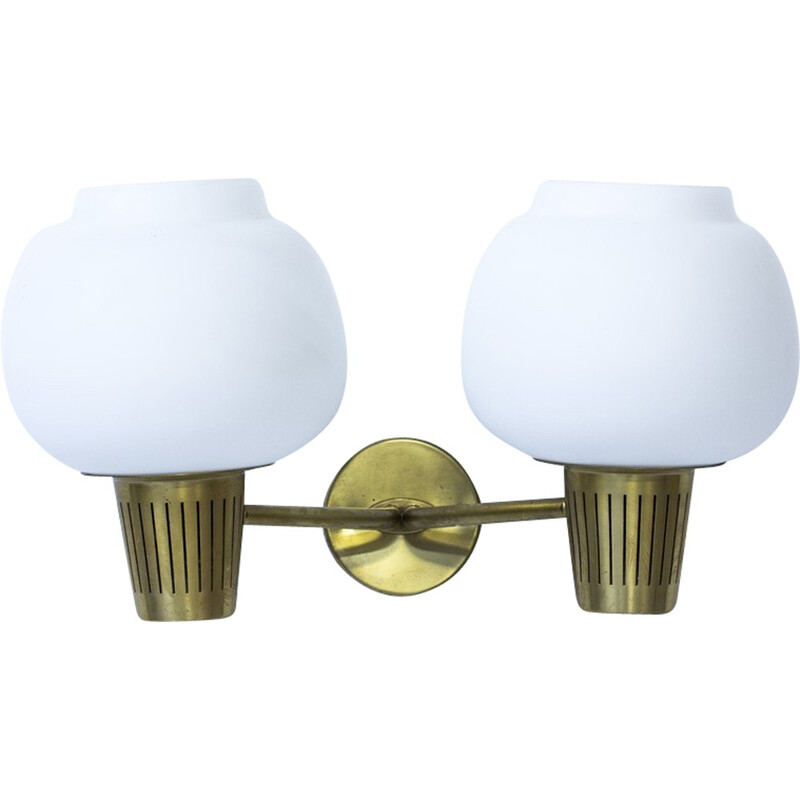 Large 2 headed wall lamp by Hans Bergström for Ateljé Lyktan - 1950s