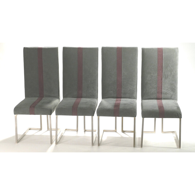 Set of 4 Jansen chairs in brushed metal and velvet, Guy LEFEVRE - 1970s