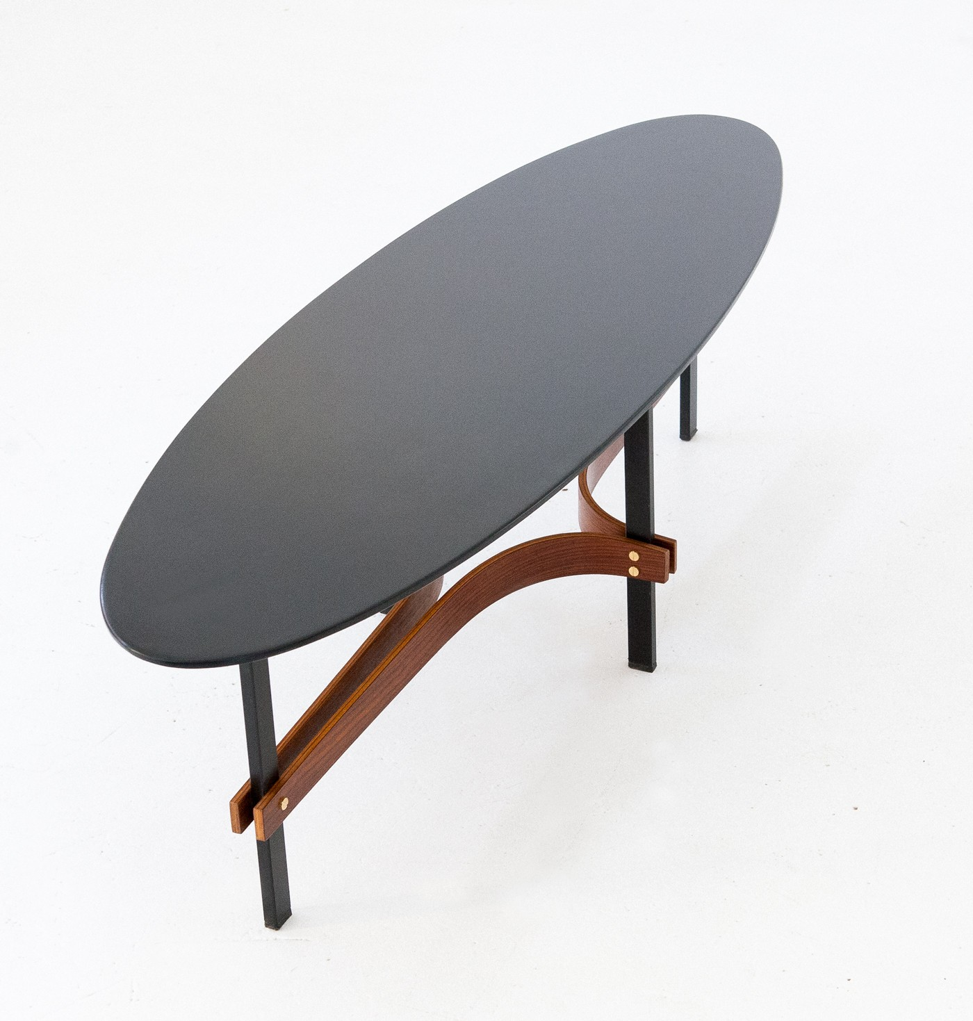 Italian ellipse coffee table in iron and rosewood 1950s