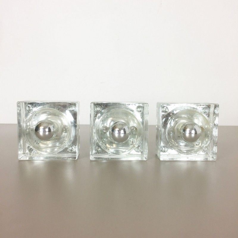 Set of 3 ice cube wall lamp for wila lights 1970s design market previous mozeypictures Images