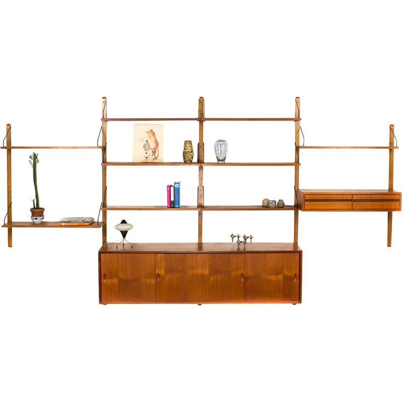 Mid-century teak wall system with sideboard by Poul Cadovius - 1960s