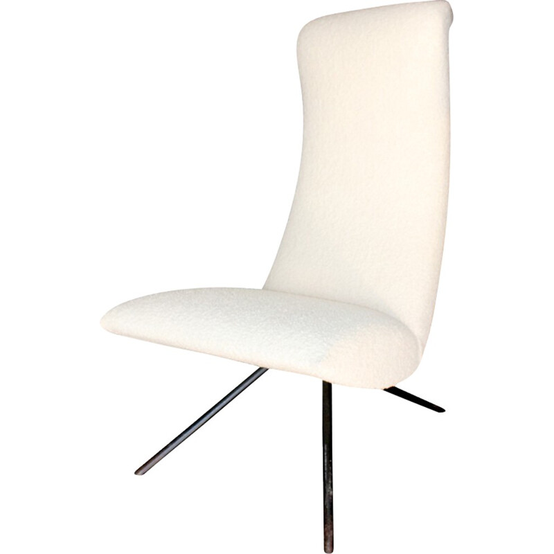 Italian tripod armchair in cream colored wool - 1960s