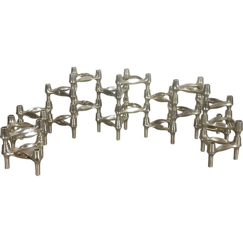 Set of 20 candle holders by Caesar Stoffi for BMF Nagel - 1970s