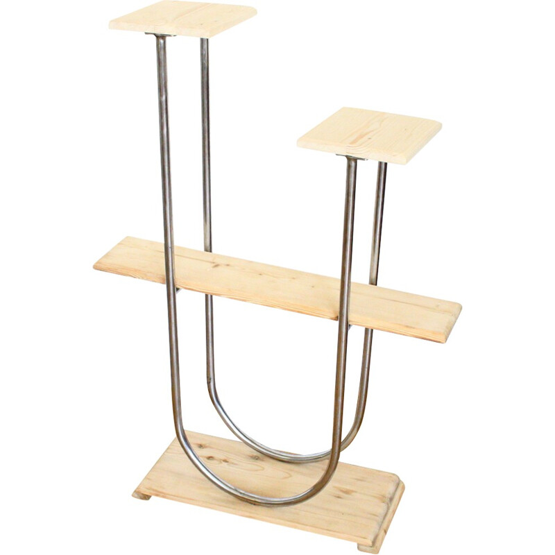 Vintage wooden and metal plant stand - 1950s