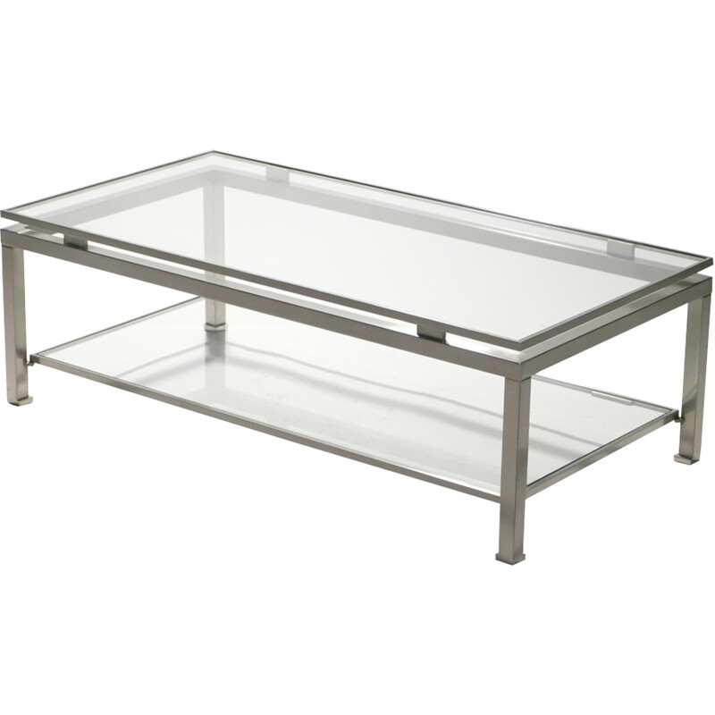 Brushed steel coffee table by Guy Lefevre for Maison Jansen - 1970s