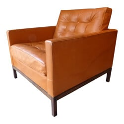 Vintage leather armchair, Florence KNOLL - 1960s