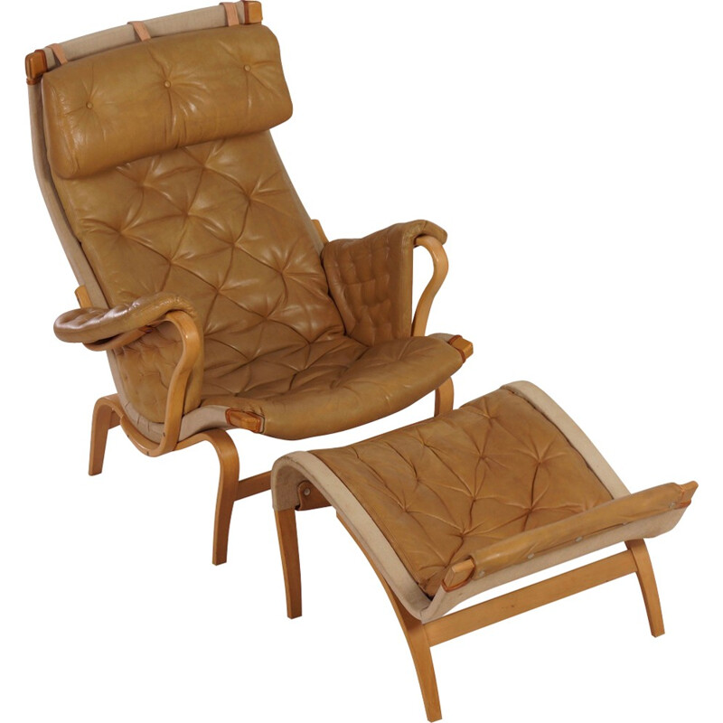 Pernilla Lounge Chair with Ottoman by Bruno Mathsson for Dux - 1970s