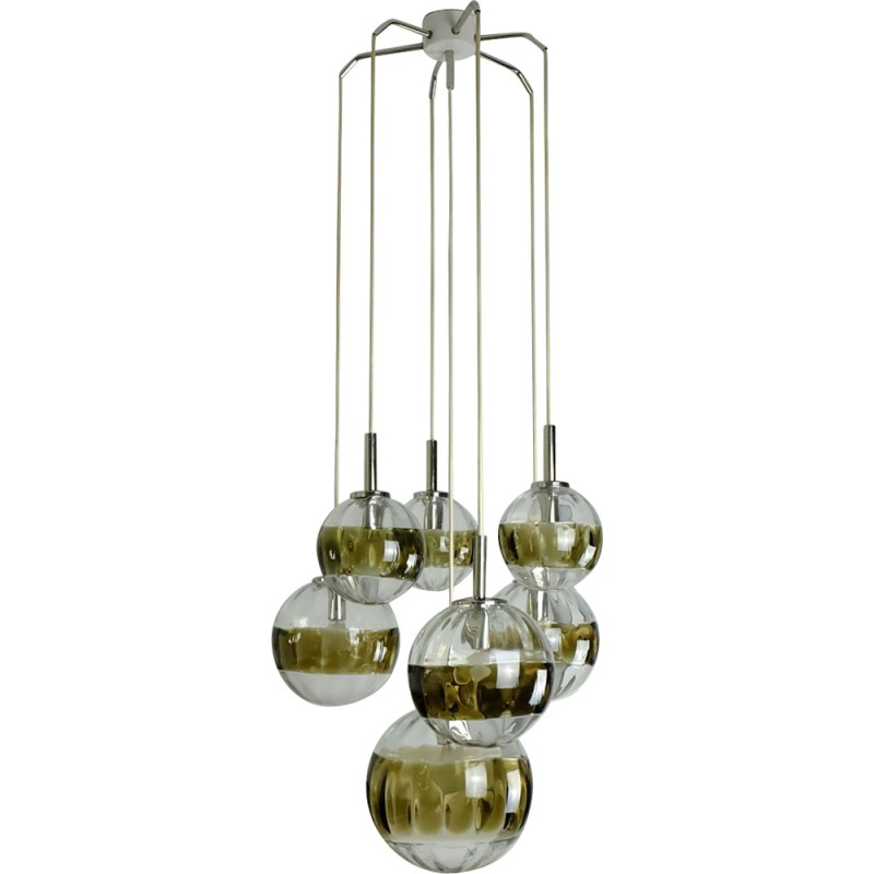 Hanging Lamp With 7 Hand Blown Glass Globes 1960s
