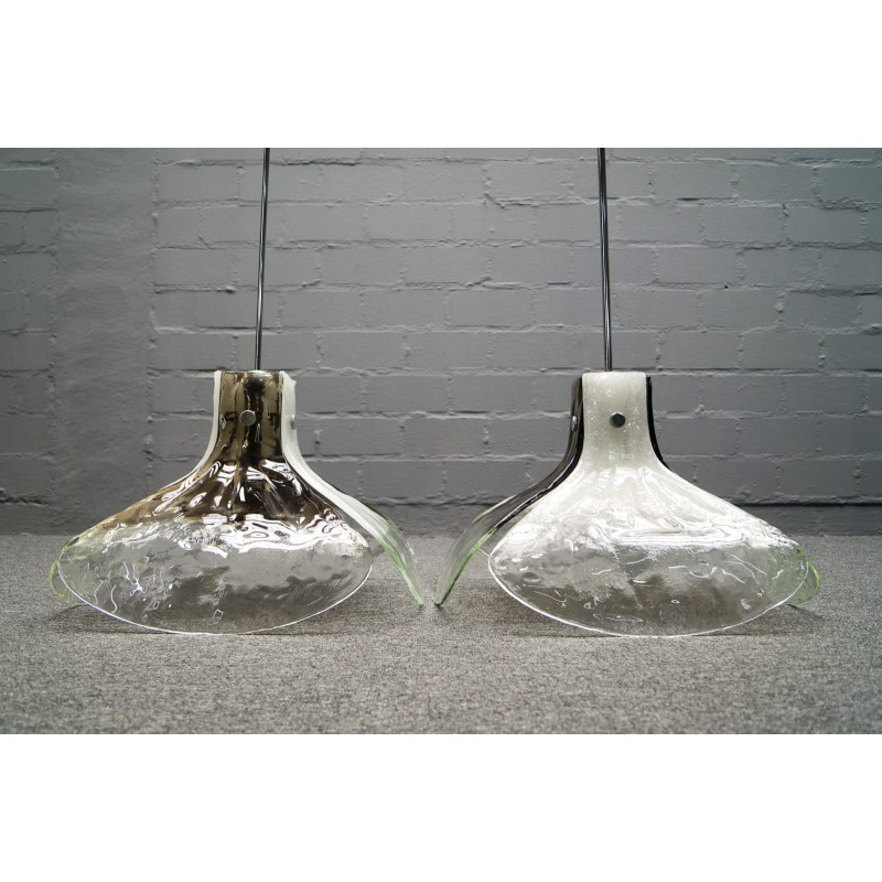 Pair Of Mazzega Hanging Lamps In Murano Glass By Carlo Nason For