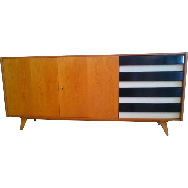 Oak sideboard with 3 compartments by Jiroutek interier in Prague - 1960s