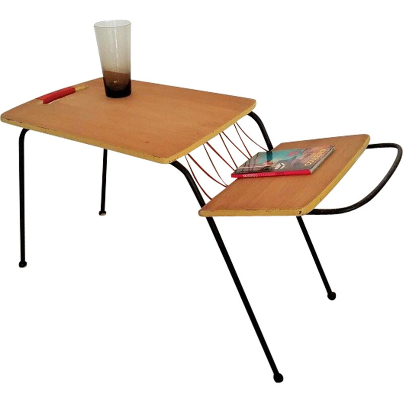 Minimalist table with magazine rack - 1950s