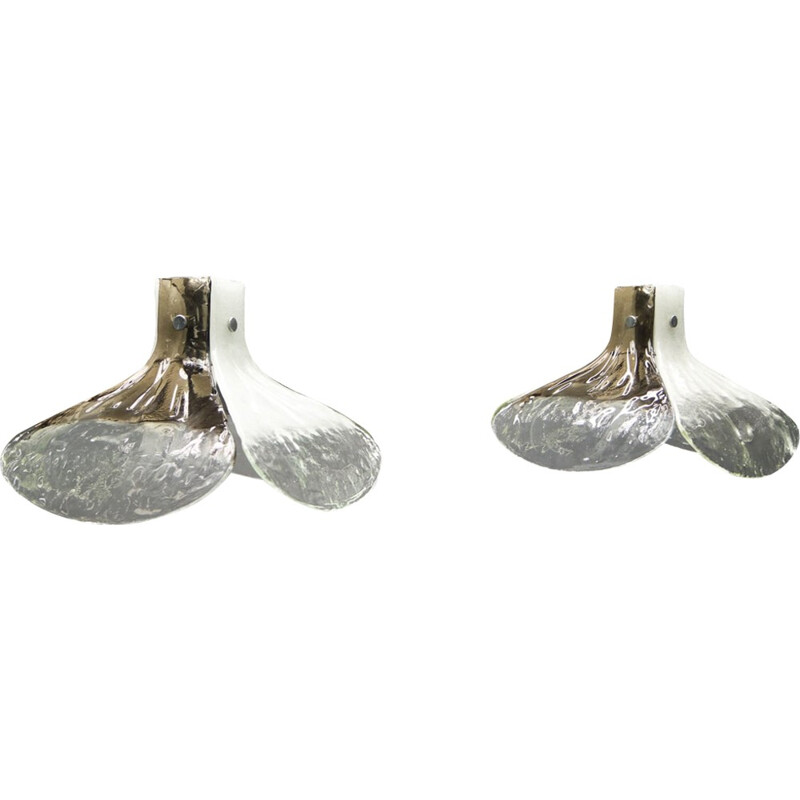 "Pair of ""Mazzega"" hanging lamps in Murano glass by Carlo Nason for Kalmar - 1960s"