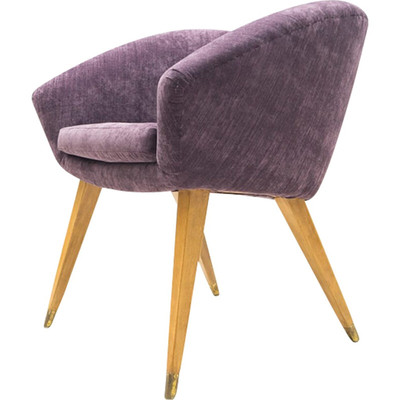 Mid-Century French Purple Cocktail armchair - 1950s