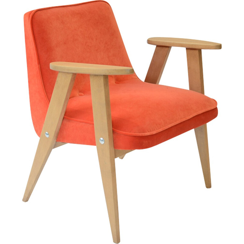 Orange velvet compact chair by Chierowski - 1960s