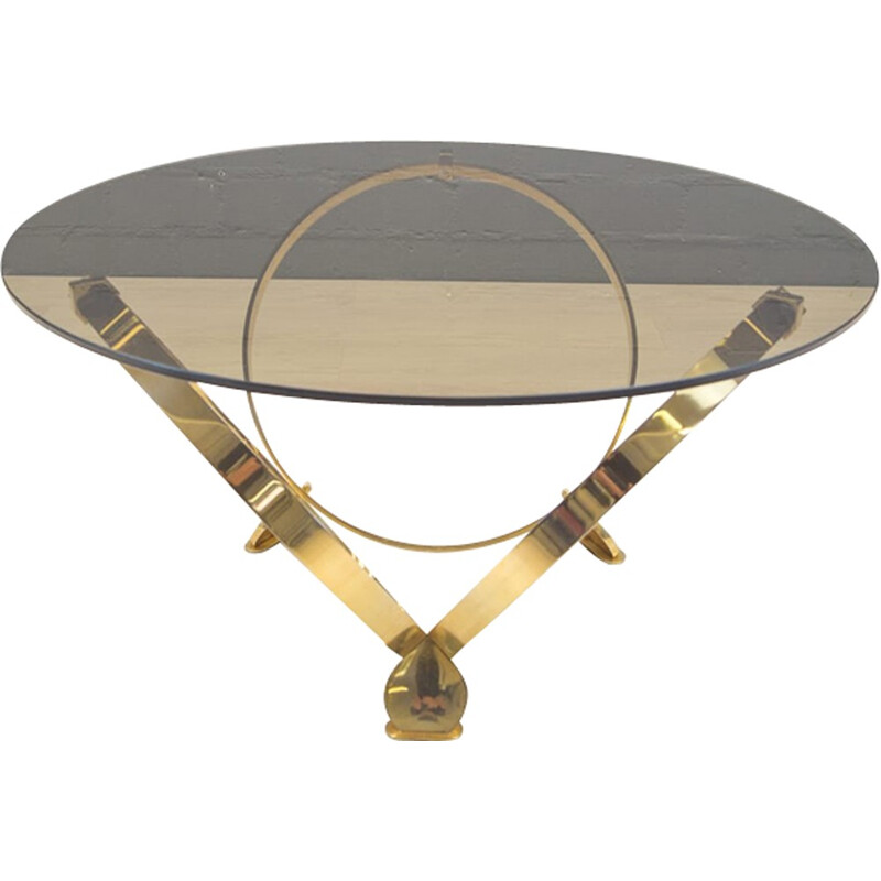 Vintage Brass & Smoked Glass Coffee Table by Knut Hesterberg - 1960s
