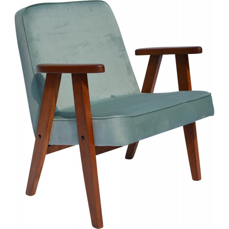 Green mint velvet small armchair by J. Chierowski - 1960s