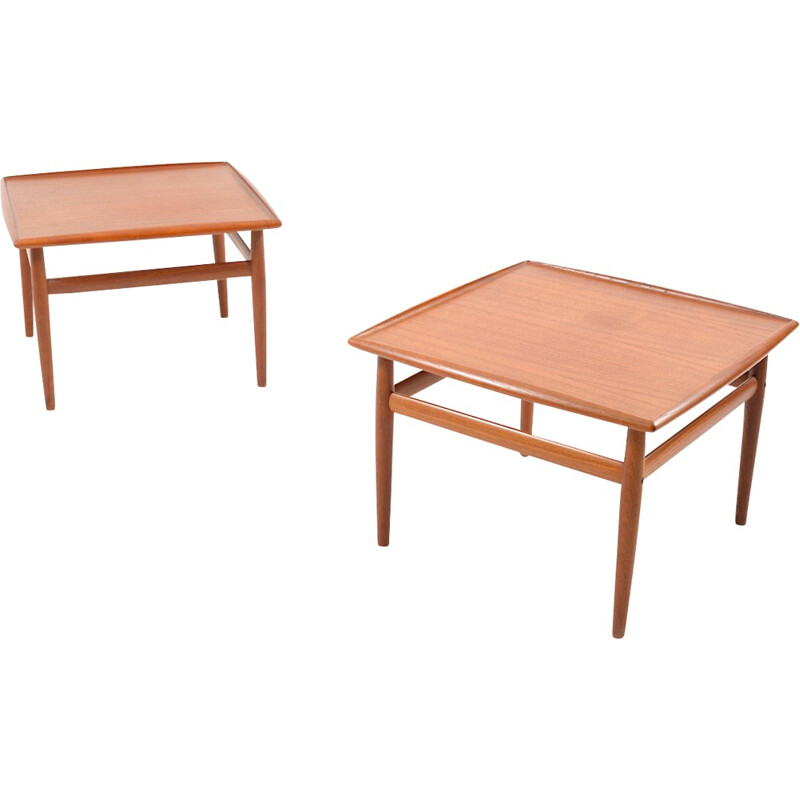 Pair of square coffee tables in teak by Grete Jalk for Glostrup  - 1960s