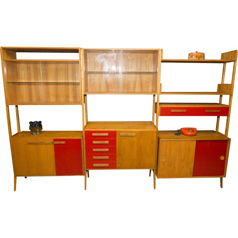 Mid-century modern beech unit shelf system by Frantisek Jirak for Tatra Nabytok - 1960s
