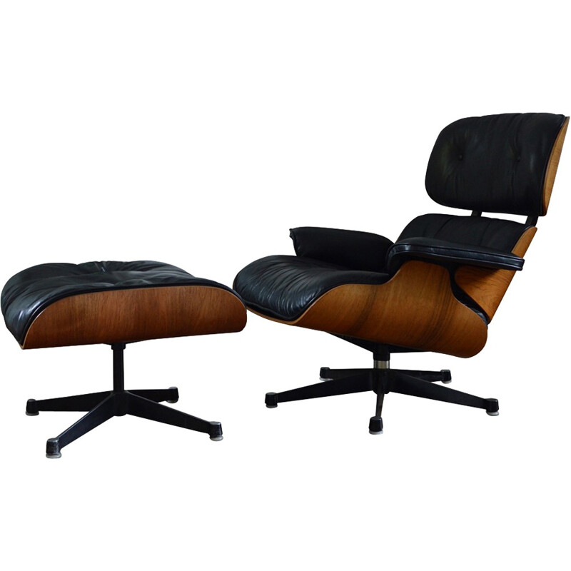 Rosewood Lounge Chair and Ottoman by Eames pour Herman Miller - 1970's