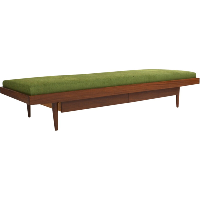 Teak Daybed with 2 drawers and new upholstery - 1950s