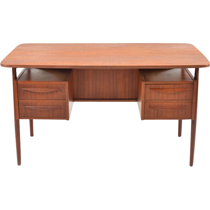 Mid-Century desk in teak with 4 drawers - 1950s