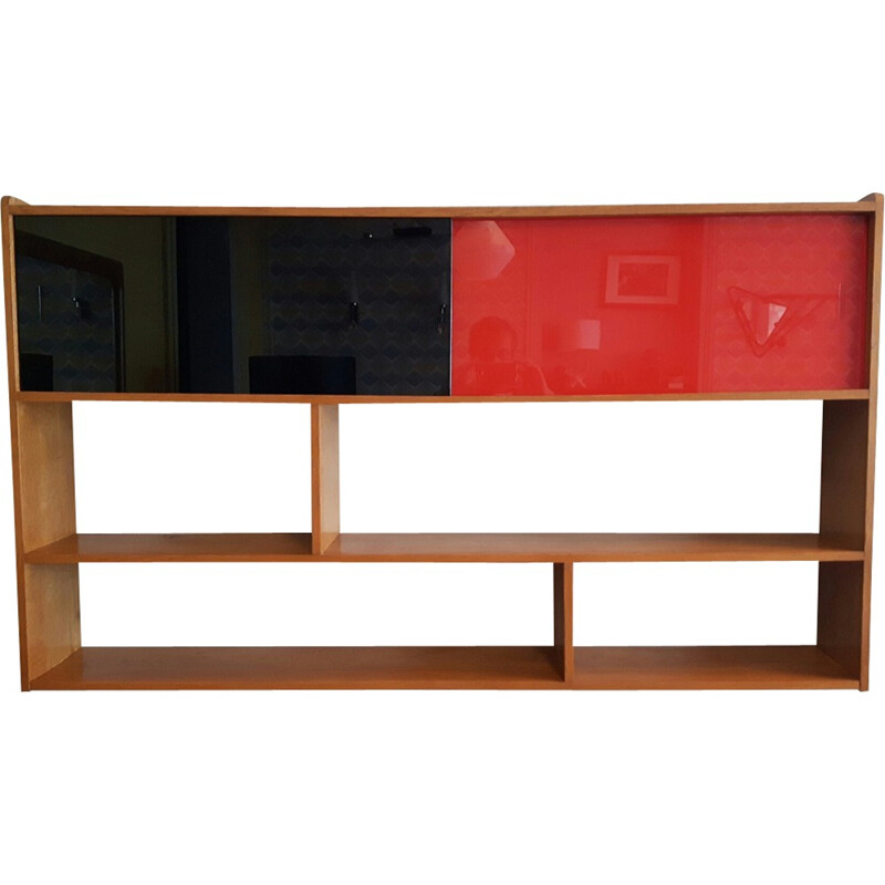 Vintage wall unit with sliding windows - 1950s