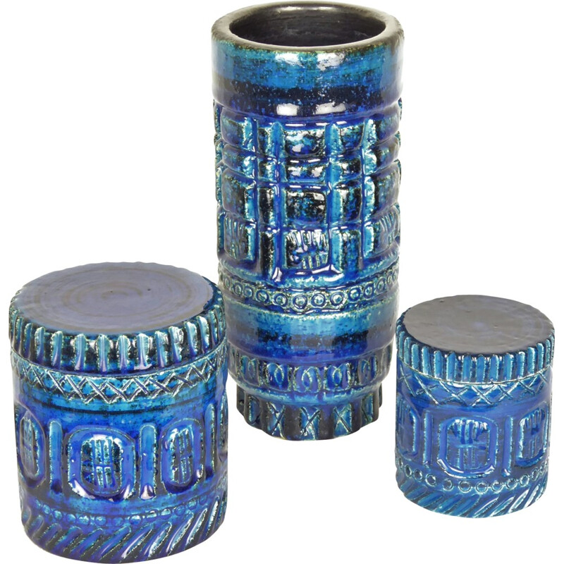 Pol Chambost's tube vase and 2 boxes, in blue ceramic, 1950