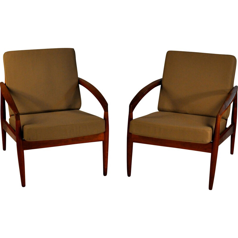 Pair of Armchairs in Teak and Green Fabric by Kai Kristiansen - 1950s