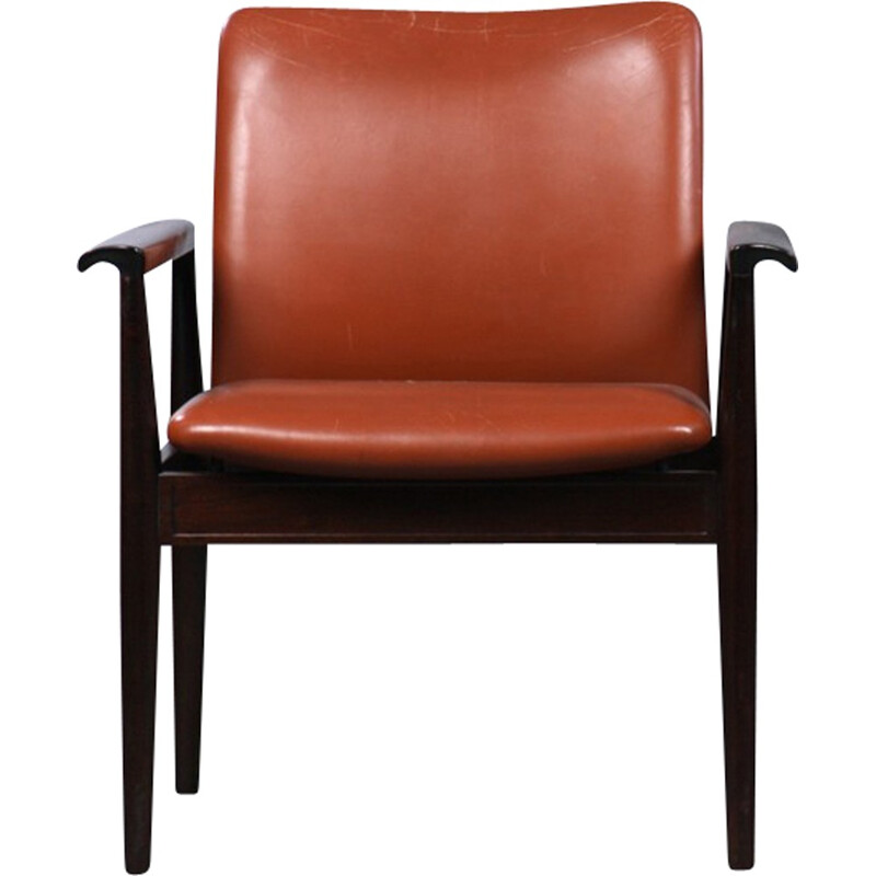 Model 209 Diplomat Armchair in Mahogany and Brown Leather by Finn Juhl for Cado - 1960s